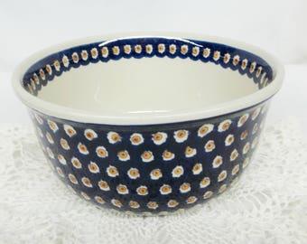 Boleslawiec Polish Pottery Mixing Serving Bowl 4 quart Cobalt Blue Brown Fish Eye Dots Circles Hand Made Poland European Art Pottery