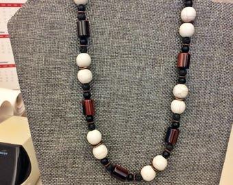 Statement Howlite Tiger eye Necklace