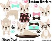 Boston Terrier Clipart: Cream, Tan, Digital Dogs, Puppy Graphics