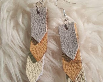 Leather Earrings - Real leather - Handmade jewlery - Earrings - Leather Jewlery