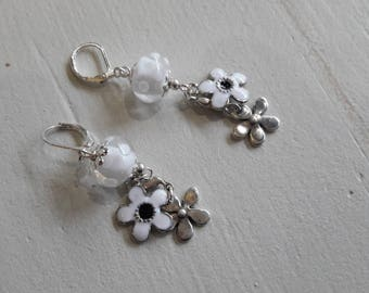 Pearl spun torch, white, enameled earrings