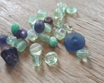 Clearance * set of beads, purple, green and antique look, drilled, 70g
