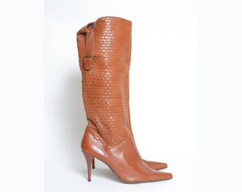 Vintage Tall Brown Woven Leather Boots