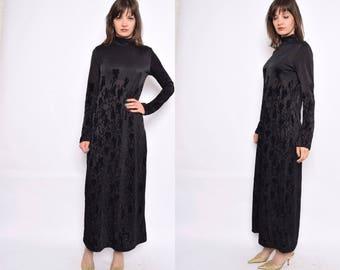 Vintage 80's Black Velvet Maxi Dress / Sheer Mock neck Velvet Ornaments Dress - Size Medium