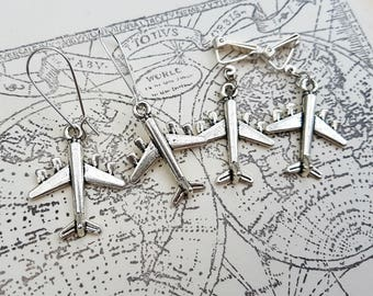 Airplane earrings, silver plane charms, clip on or pierced, travel theme, aeroplane journey