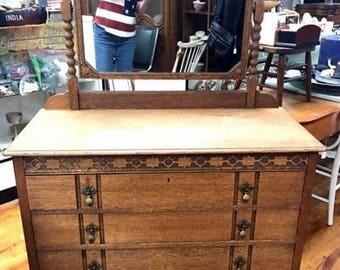 Tiger Oak Dresser with Beveled Mirror