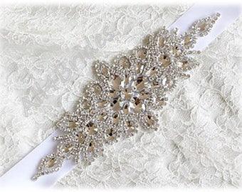 Wedding Bridal Dress Belt Crystals and Rhinestone Beaded Sash, White Bridal Sash