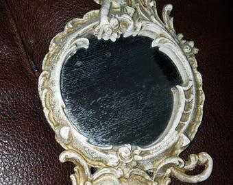 Vintage Small Metal Ornate Angel Mirror