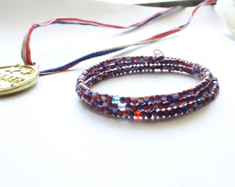 Red White and Blue,  Patriotic Bracelet, USA Bracelet, 4th of July, Casual Wear, Independence Day Bracelet, Patriotic, 3 tier Bracelet