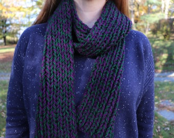 Purple and Green Knit Scarf - Long Scarf - Soft Scarf - Brioche Knit Scarf - Neck Warmer - Green & Purple Scarf - Chunky Scarf - Chunky Knit