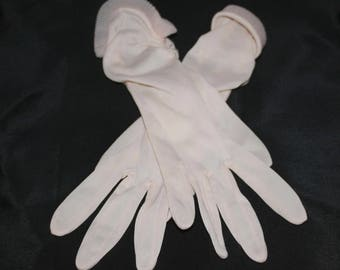 Vintage Sheer Pink Nylon Gloves Pleated Cuff Gathered Sides