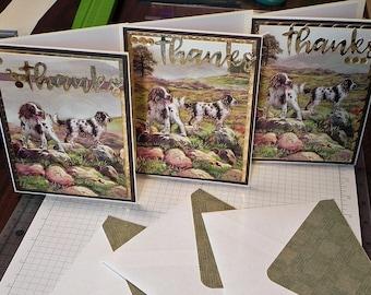 "Cocker Spaniel ""Thanks"" Greeting Cards Set of 3"