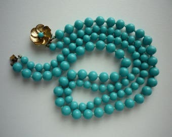 Vintage Turquoise Glass Bead Knotted Two Strand Gold Tone Necklace