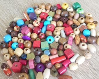 set of 100 wood beads