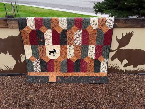 Moose Tracks Flannel Layer Cake Quilt Kit. Holly Taylor Fabric Collection and Pattern For Sewing A Rustic Theme Cabin In The Woods Lap Quilt
