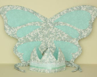 Mint Green Floral Fabric Crown and Fairy Wings