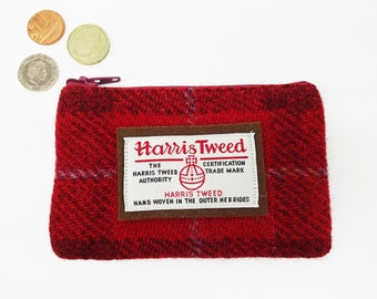 Scottish Harris tweed zipped coin purse in red and brown check.