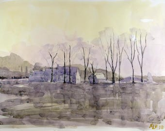 Original landscape sunset watercolor painting in Normandy original watercolor painting normandy decor wall home france decor french wall art