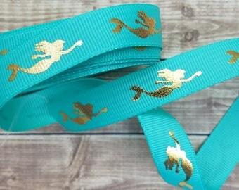 5/8 inch TROPIC MERMAID grosgrain ribbon