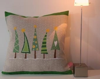 """Pillow """"fir Tree"""" cross stitch"""