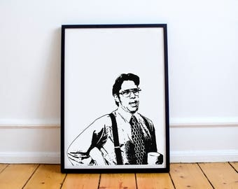 Office Space Movie Bill Lumbergh, Printable Download, Minimalist Poster, Black and White, Need You To Come In On Saturday, Cubicle Art