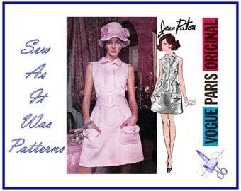 """1960s Vogue Paris Original 2246 Jean Patou Mini Mod Dress Lapel Flap Pockets Belt Front Band Vintage Sewing Pattern Size 10 Bust 32.5"""" 83cm"""