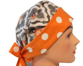 Medical Hat Surgical Scrub Cap Chemo Vet Nurse Dr Hat Front Fold Pixie Style  Grey Orange White Floral   2nd Item Ships FREE