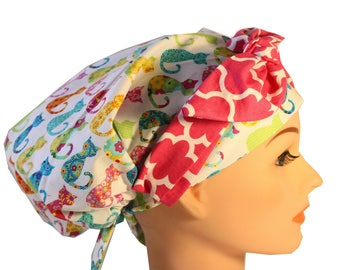 Scrub Hat Cap Chemo Bad Hair Day Hat  European BOHO Banded Pixie Tie Back Calico Cats Pink Tie Band 2nd Item Ships FREE