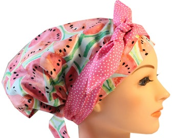 Scrub Hat Cap Chemo Bad Hair Day Hat NEW European BOHO Banded Pixie Tie Back Watermelon Pink Dot Tie Band 2nd Item ships FREE