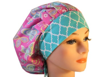 Scrub Cap Surgical Hat Chef  Dentist Hat Tie Back Bouffant Pink Mint Green Butterflies 2nd Item Ships FREE