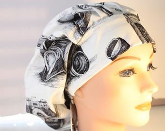 Scrub Cap Surgical Hat Chef   Dentist Hat Tie Back Bouffant Cameras Cream Black 2nd Item Ships FREE