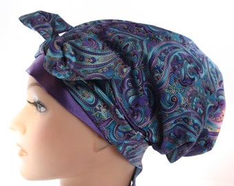Scrub Hat Cap Chemo Bad Hair Day Hat  European BOHO Pixie Tie Back Purple Blue Paisley SATIN Band and Lined Tie Band 2nd Item Ships FREE