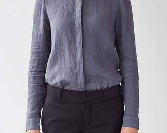 Dark Grey Angelica Linen Shirt