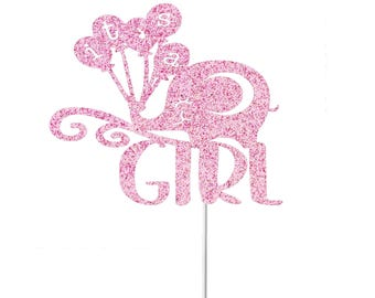 It's A Girl Cake Topper, Elephant Baby Shower, Elephant Cake Topper, It's a Girl Sign, Baby Sprinkle Decor, Gender Reveal Topper, New Baby