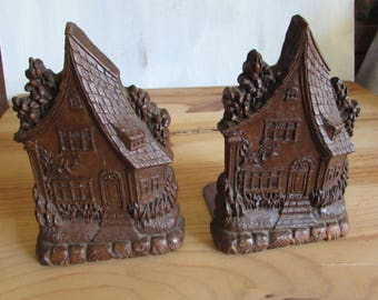 Mid Century Modern  Cottage House Wood Bookends.