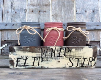 Wooden crate with chalk painted jars