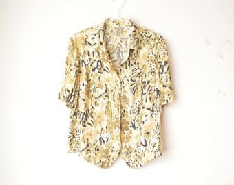 yellow abstract floral animal print button down shirt blouse 80s // M-L