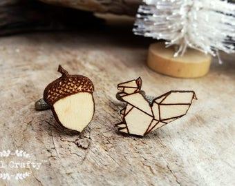 Squirrel Acorn Wooden Cufflinks Geometric Origami squirrel Dad Grooms Best man Groomsman Rustic Wedding Birthday Gift Cuff links