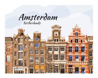 Amsterdam Art Print, Dutch buildings, Netherlands, Dutch Architecture, City Print, Travel Art, City Paper poster, Wall Decor,