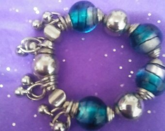 Large teal art glass bracelet from Venice Italy