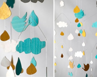 wooden mobile, clouds - drops - birds