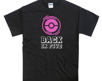 "ON SALE Pokemon Go ""BACK In 5"" Pink Pokestop Inspired T-shirt"
