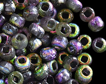 10gr 6/0 Czech Glass Seed Beads Etched, Etched Magic Orchid (6SBE019)