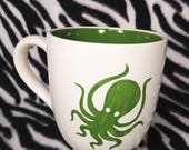Rosies Daily Special Green Octopus Coffee Cup Mug Handmade Hand Made OHIO USA Pottery Ceramics Tattoo