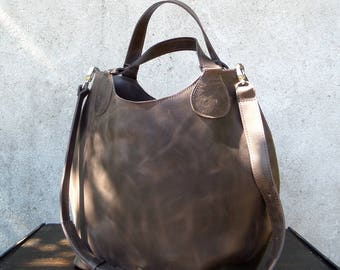 Coffee brown leather bag
