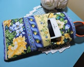 BLUE and YELLOW FLOWERS,  Double case, iPhone/eyeglass case, 7x4,quilted cotton