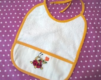 hand embroidered Terry baby bib