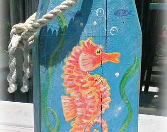 Seahorse buoy - Nautical buoy - Wooden buoy - painted buoy - beach decor - door stop - beach scene - lobster buoy - custom  painted