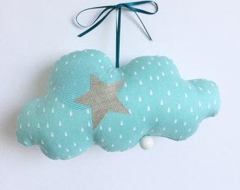 Mobile Musical Nuage Turquoise Gouttes Blanches - Mint - Boite à musique - Une étoile dans ma cabane
