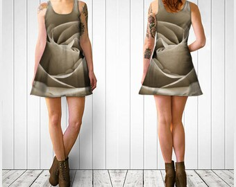 Flare Dress, Skater Dress, Teen Clothing, Sepia Rose dress, Reversible dress, Flower Flare Dress, Floral Skater Dress, Spandex Mini Dress